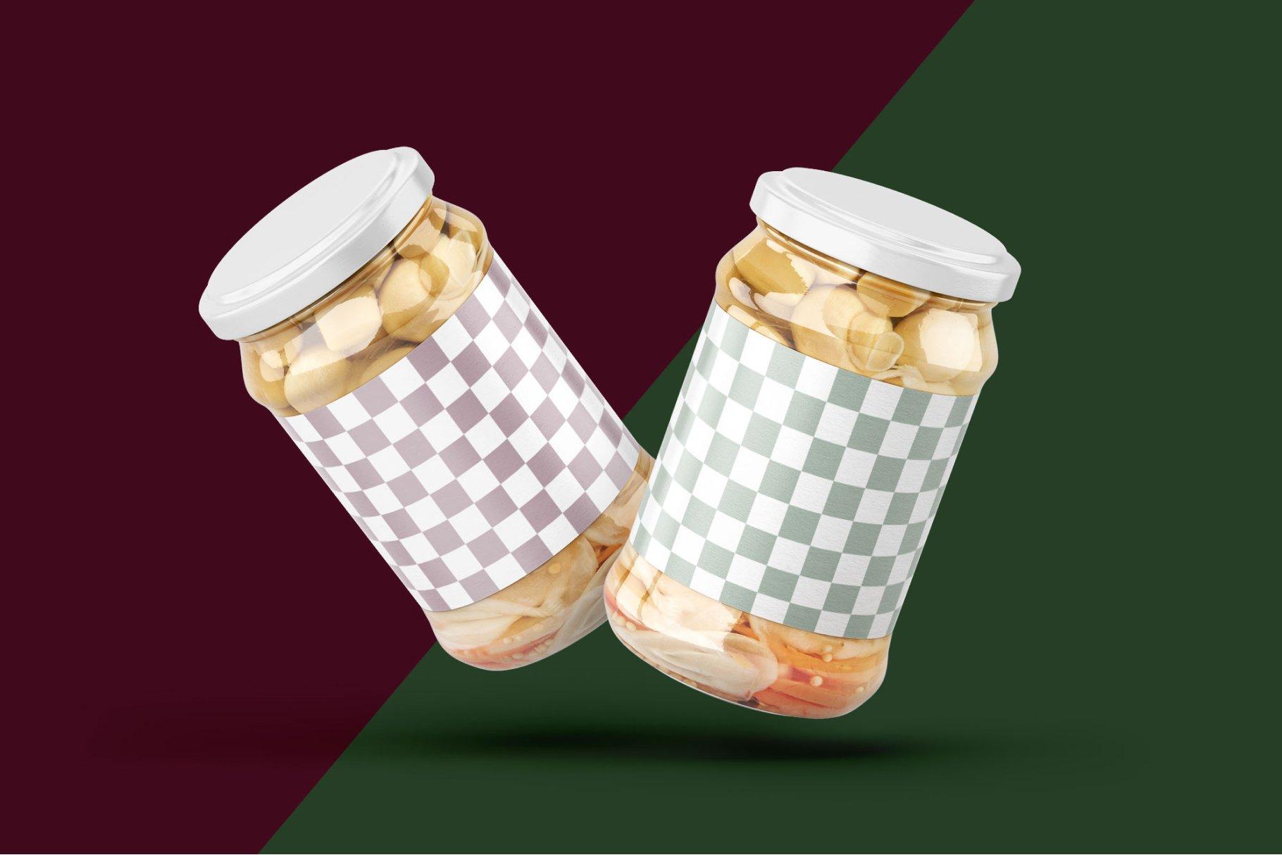 10款新潮蘑菇果酱水果罐头玻璃瓶标签设计展示样机合集 Whole Mushroom Jar Mockup Set插图3