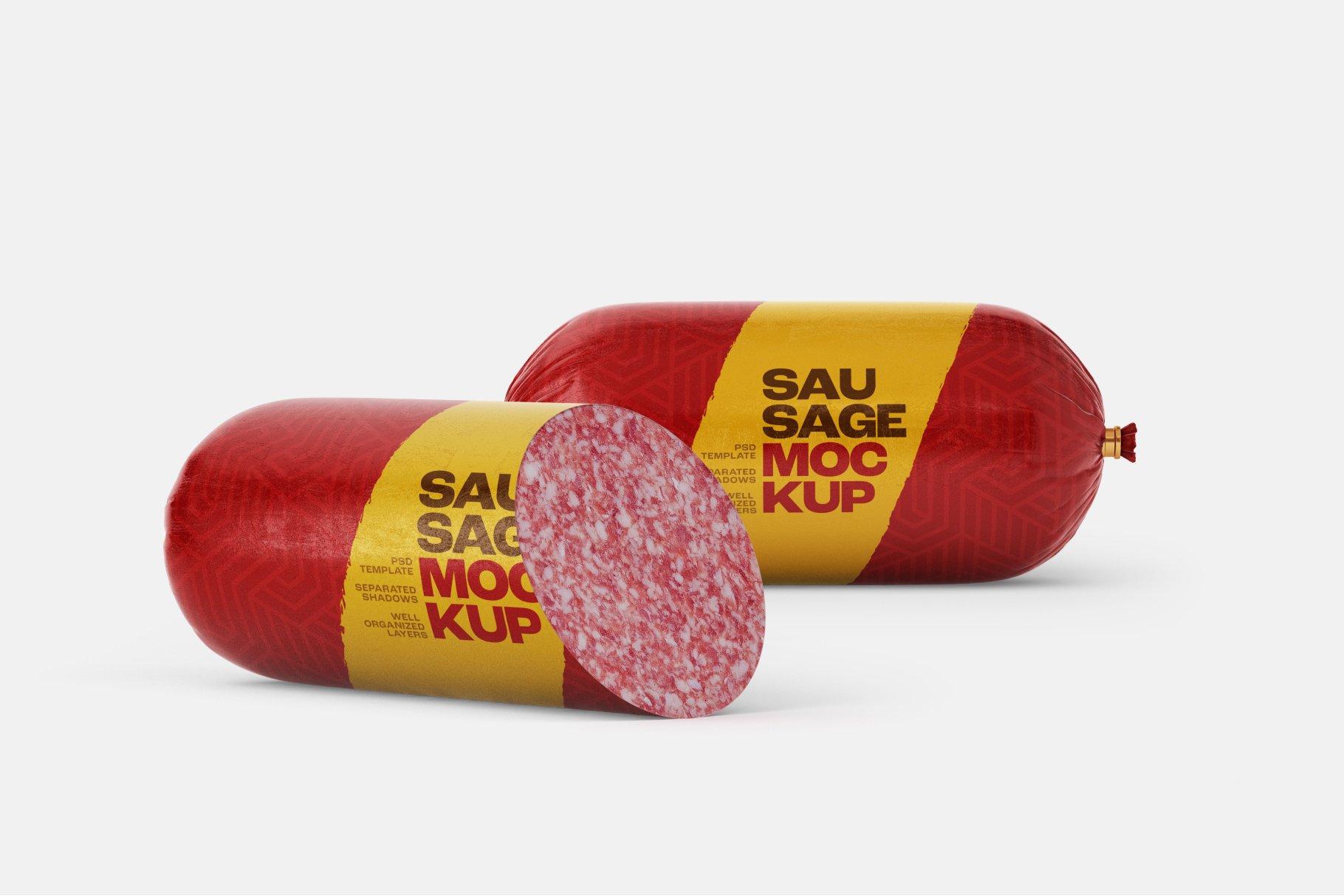 11款火腿肠香肠密封塑料袋设计展示贴图样机合集 Sausage Chub Mockup Set插图8