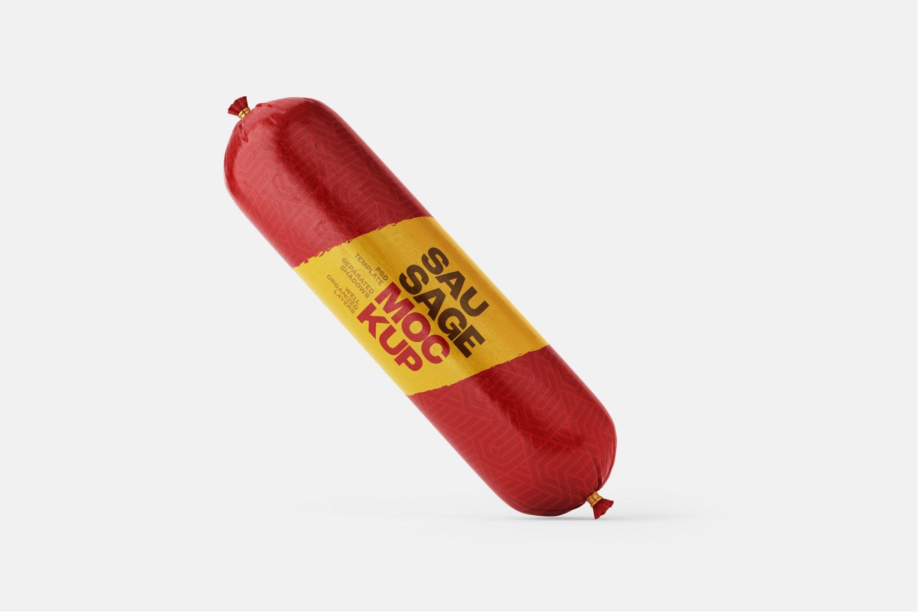11款火腿肠香肠密封塑料袋设计展示贴图样机合集 Sausage Chub Mockup Set插图9