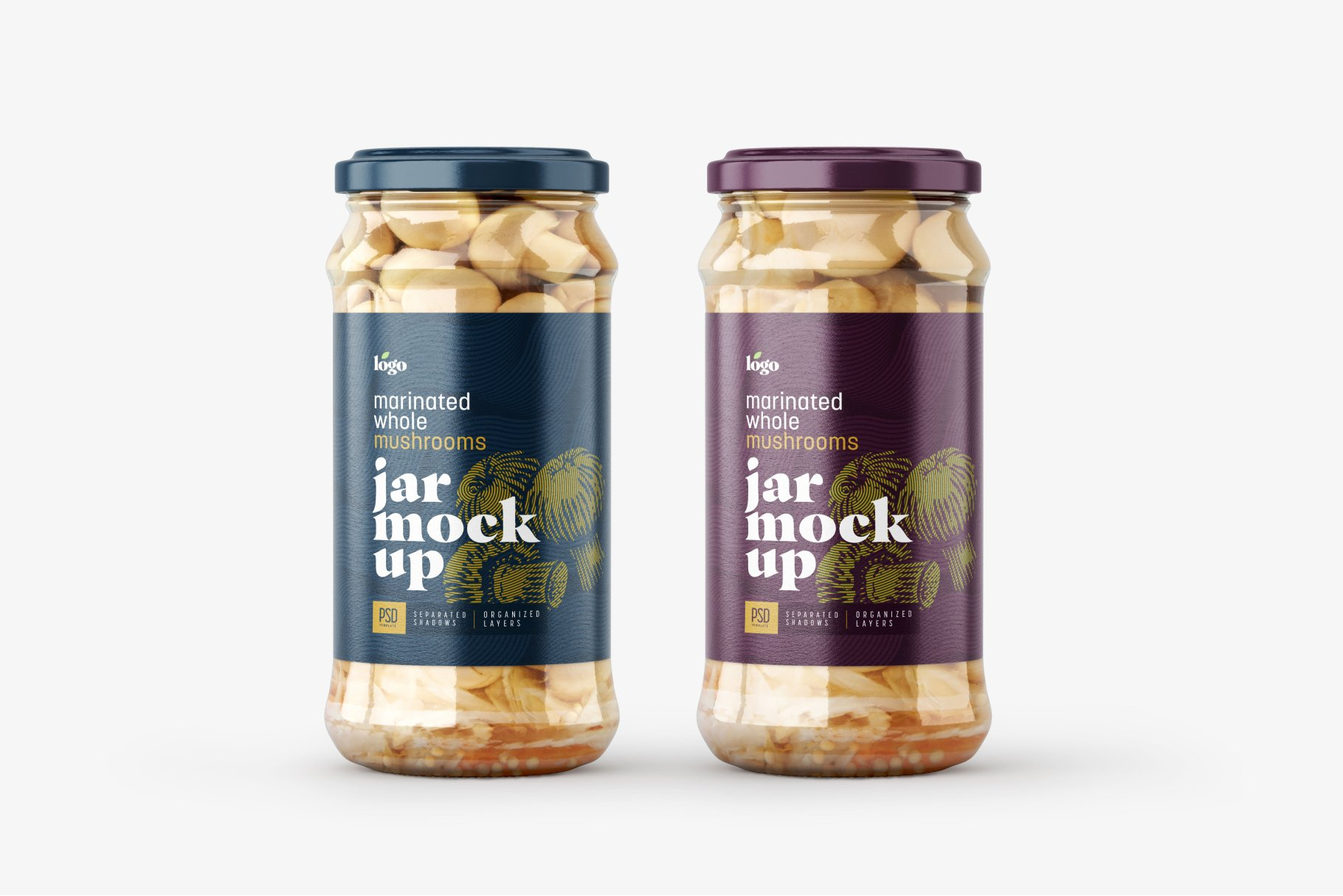 10款新潮蘑菇果酱水果罐头玻璃瓶标签设计展示样机合集 Whole Mushroom Jar Mockup Set插图5