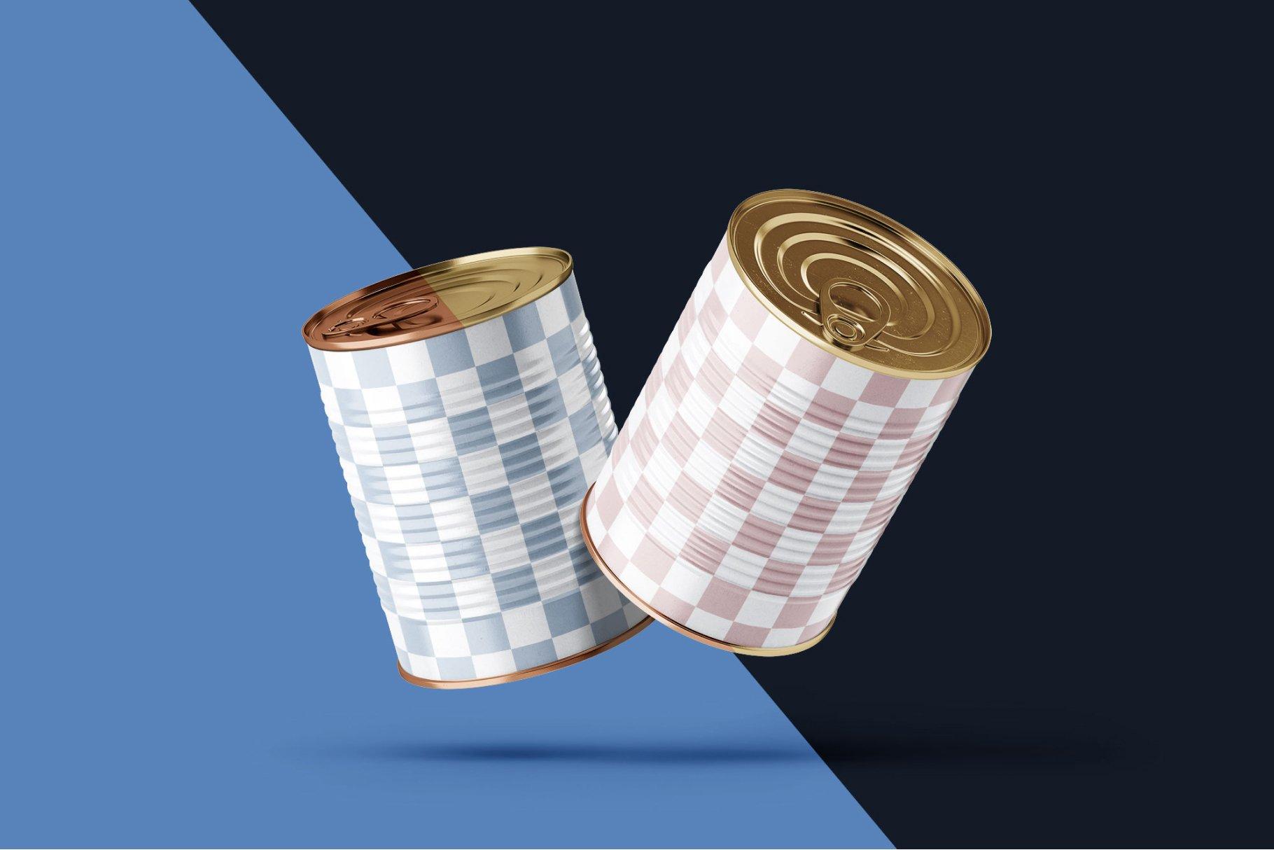 9款食品罐头金属锡罐包装样机模板素材合集 Tin Can Mockup Set | Conserve插图2