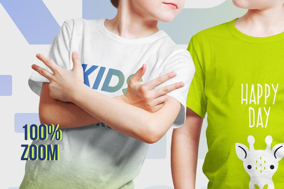 14款儿童半袖T恤印花图案设计展示样机模板 Kids Boy T-Shirt Mockups Vol3插图1