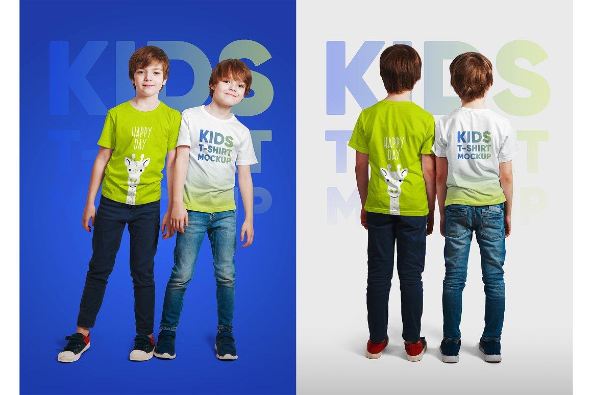 14款儿童半袖T恤印花图案设计展示样机模板 Kids Boy T-Shirt Mockups Vol3插图4