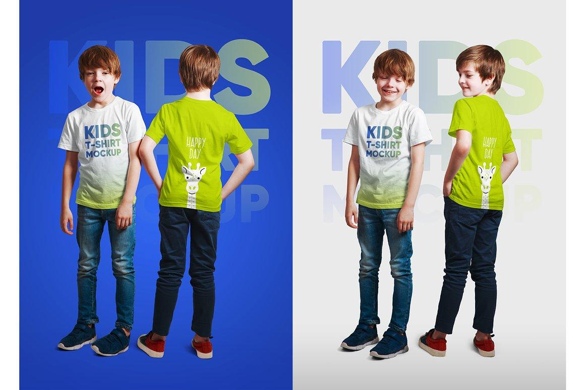 14款儿童半袖T恤印花图案设计展示样机模板 Kids Boy T-Shirt Mockups Vol3插图6