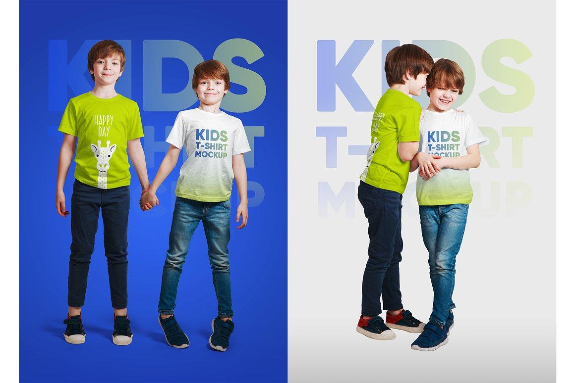 14款儿童半袖T恤印花图案设计展示样机模板 Kids Boy T-Shirt Mockups Vol3插图8