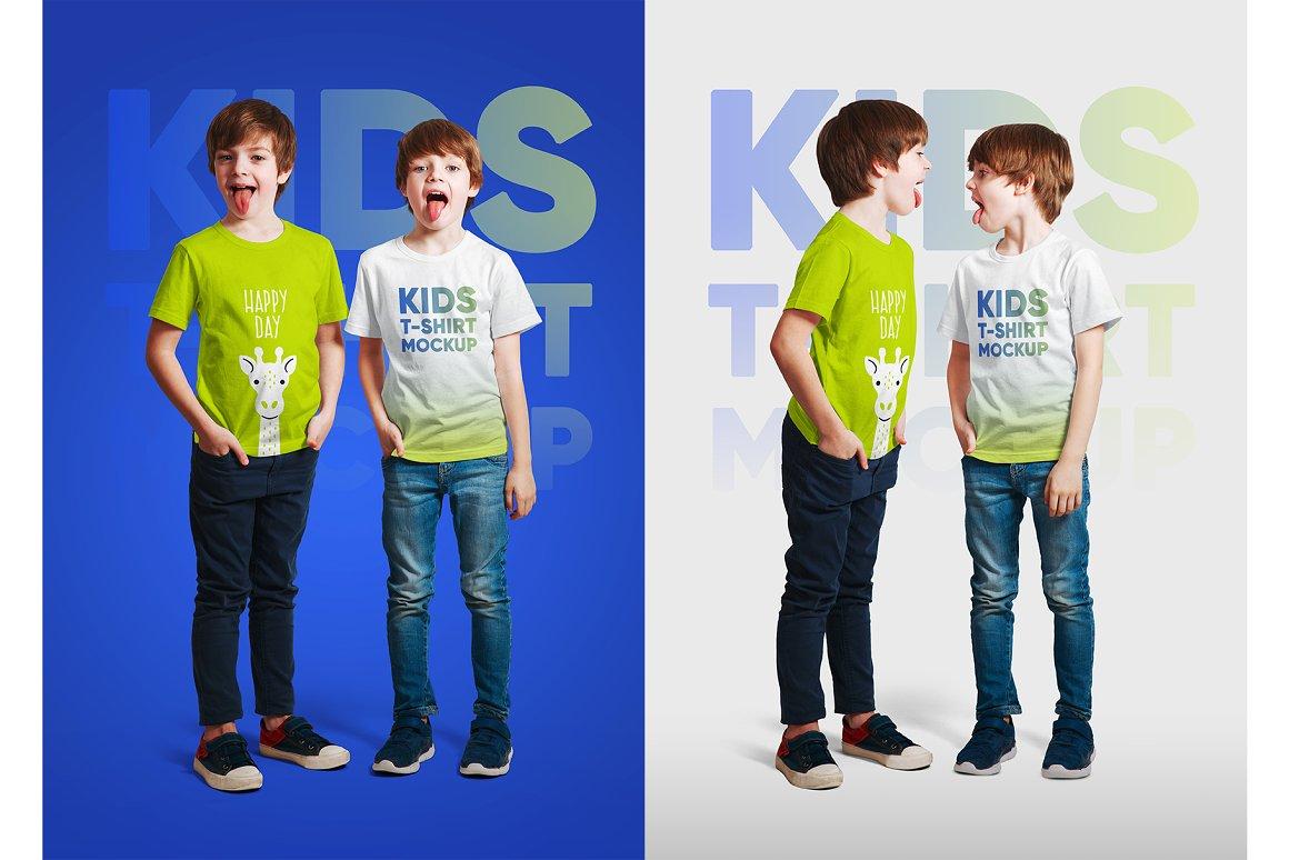 14款儿童半袖T恤印花图案设计展示样机模板 Kids Boy T-Shirt Mockups Vol3插图9