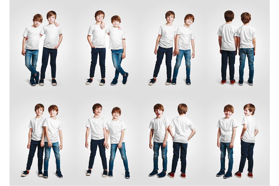 14款儿童半袖T恤印花图案设计展示样机模板 Kids Boy T-Shirt Mockups Vol3插图10