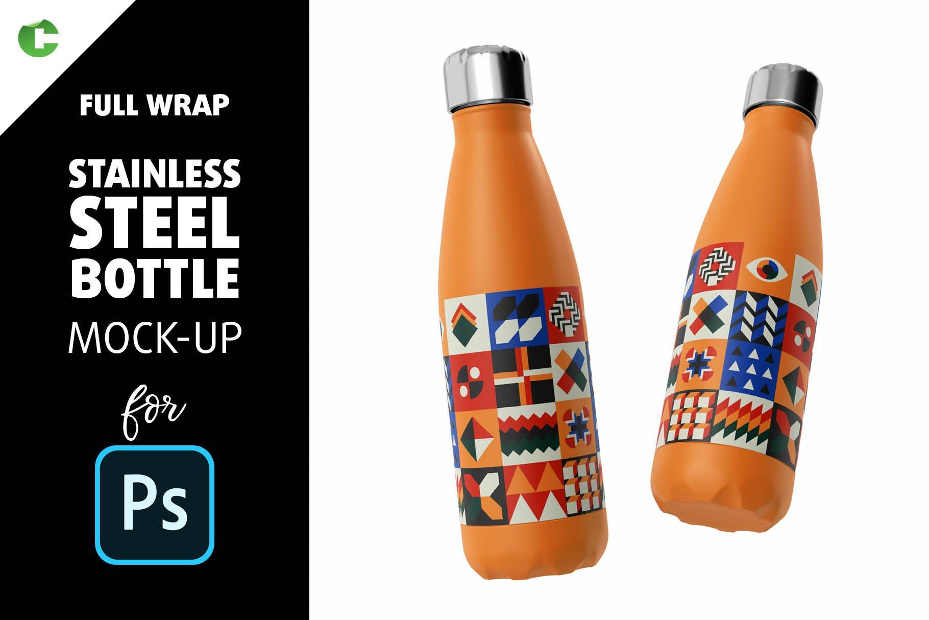 时尚不锈钢保温水瓶外观设计PS贴图样机 Stainless Steel Bottle Mock-up插图
