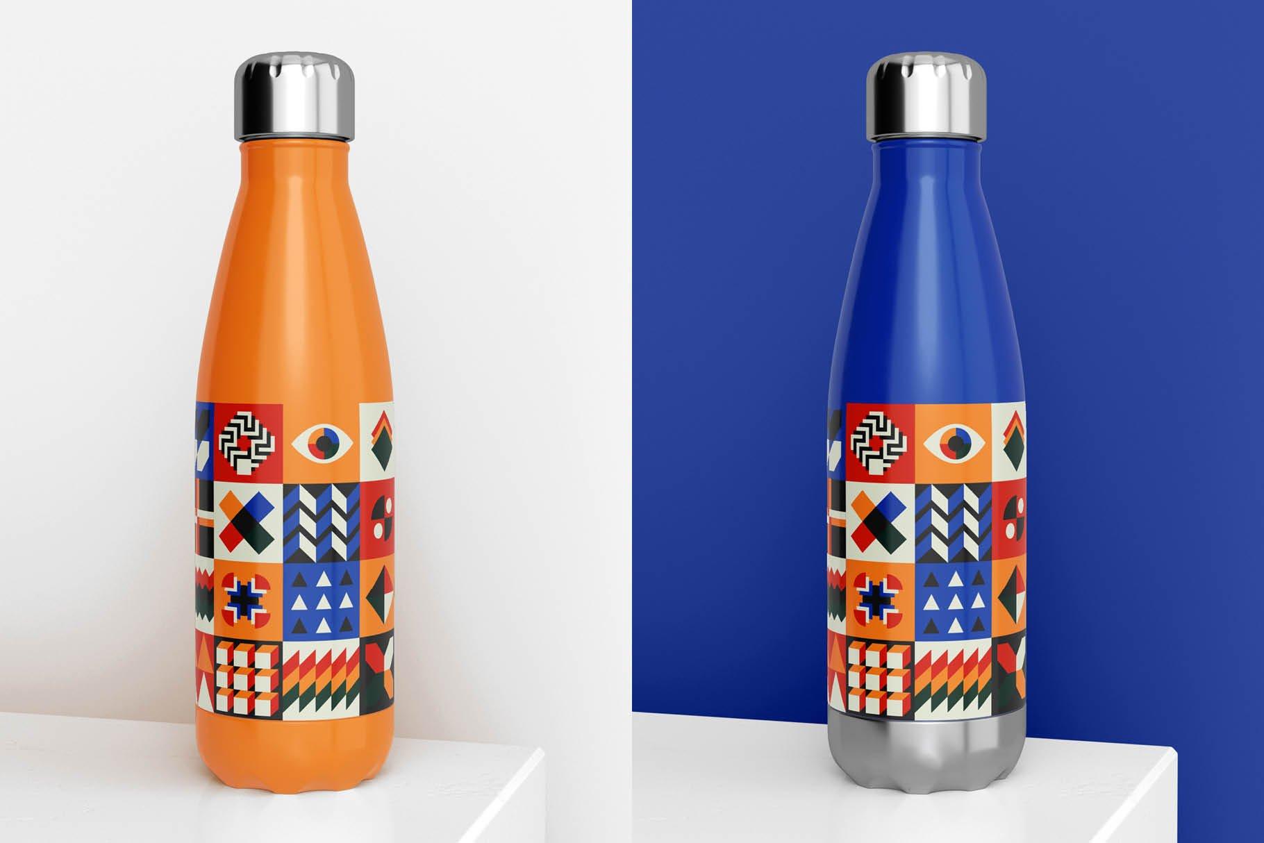 时尚不锈钢保温水瓶外观设计PS贴图样机 Stainless Steel Bottle Mock-up插图9