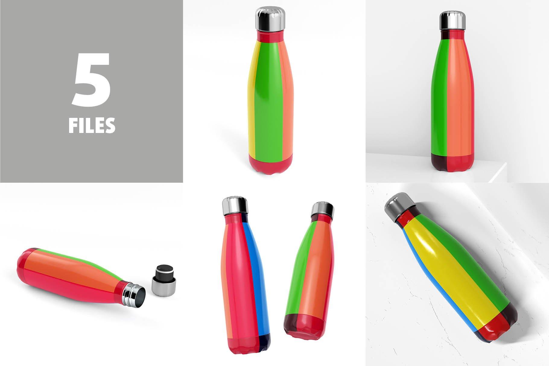 时尚不锈钢保温水瓶外观设计PS贴图样机 Stainless Steel Bottle Mock-up插图3
