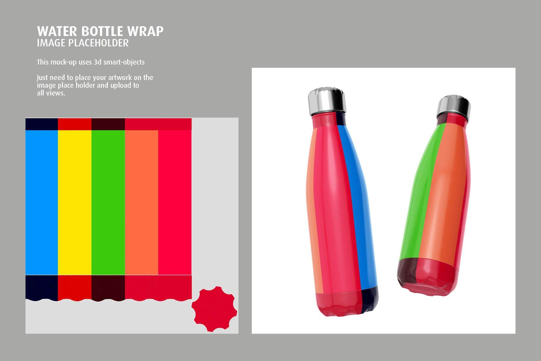 时尚不锈钢保温水瓶外观设计PS贴图样机 Stainless Steel Bottle Mock-up插图2