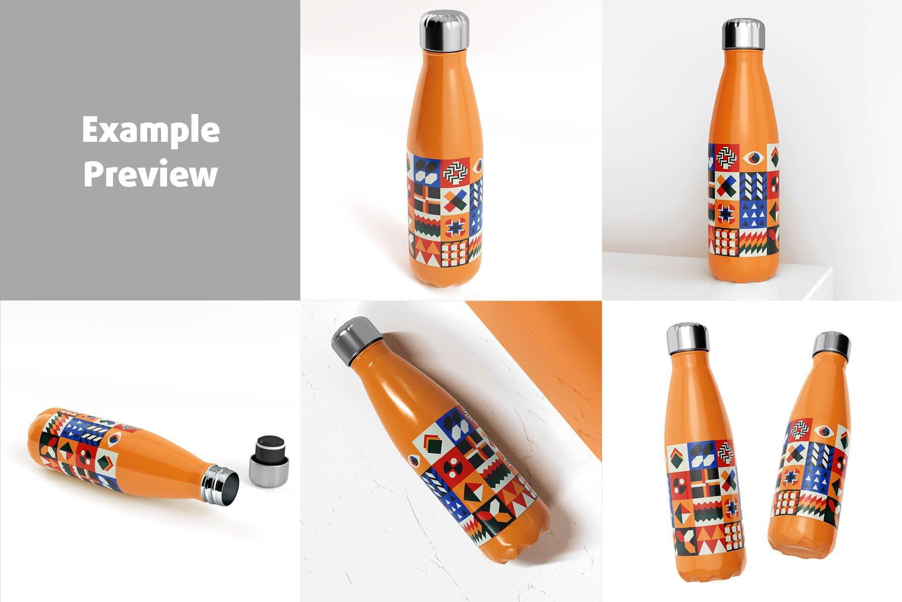 时尚不锈钢保温水瓶外观设计PS贴图样机 Stainless Steel Bottle Mock-up插图4