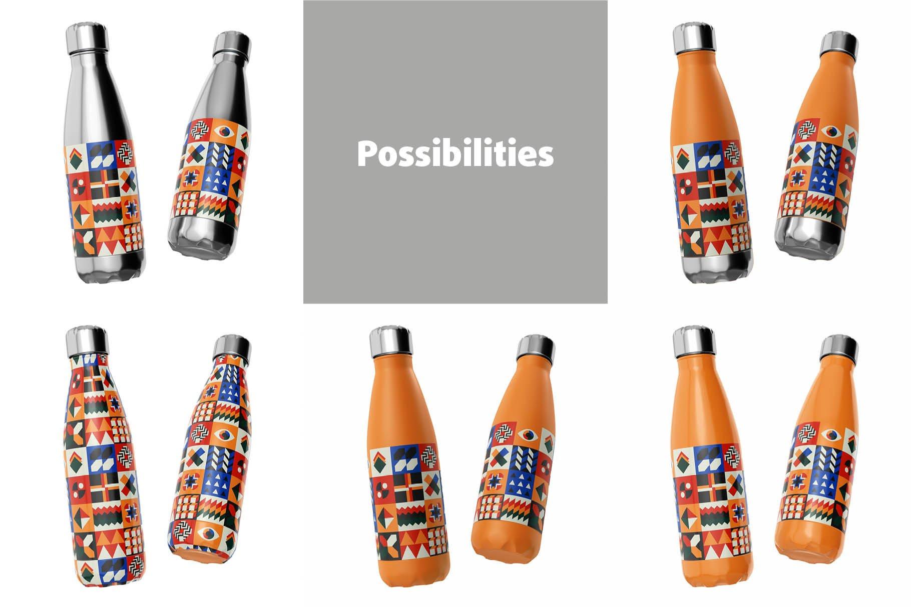 时尚不锈钢保温水瓶外观设计PS贴图样机 Stainless Steel Bottle Mock-up插图5