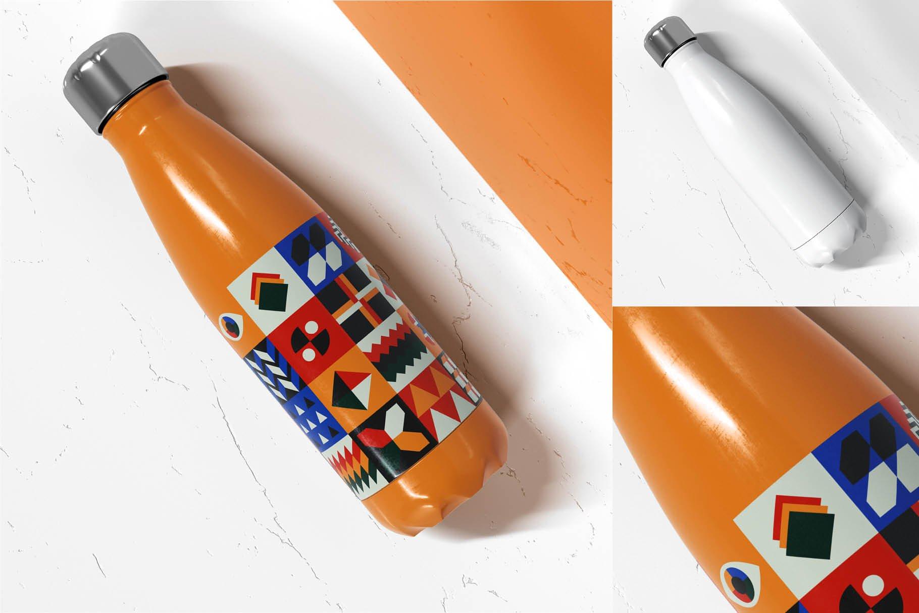 时尚不锈钢保温水瓶外观设计PS贴图样机 Stainless Steel Bottle Mock-up插图6