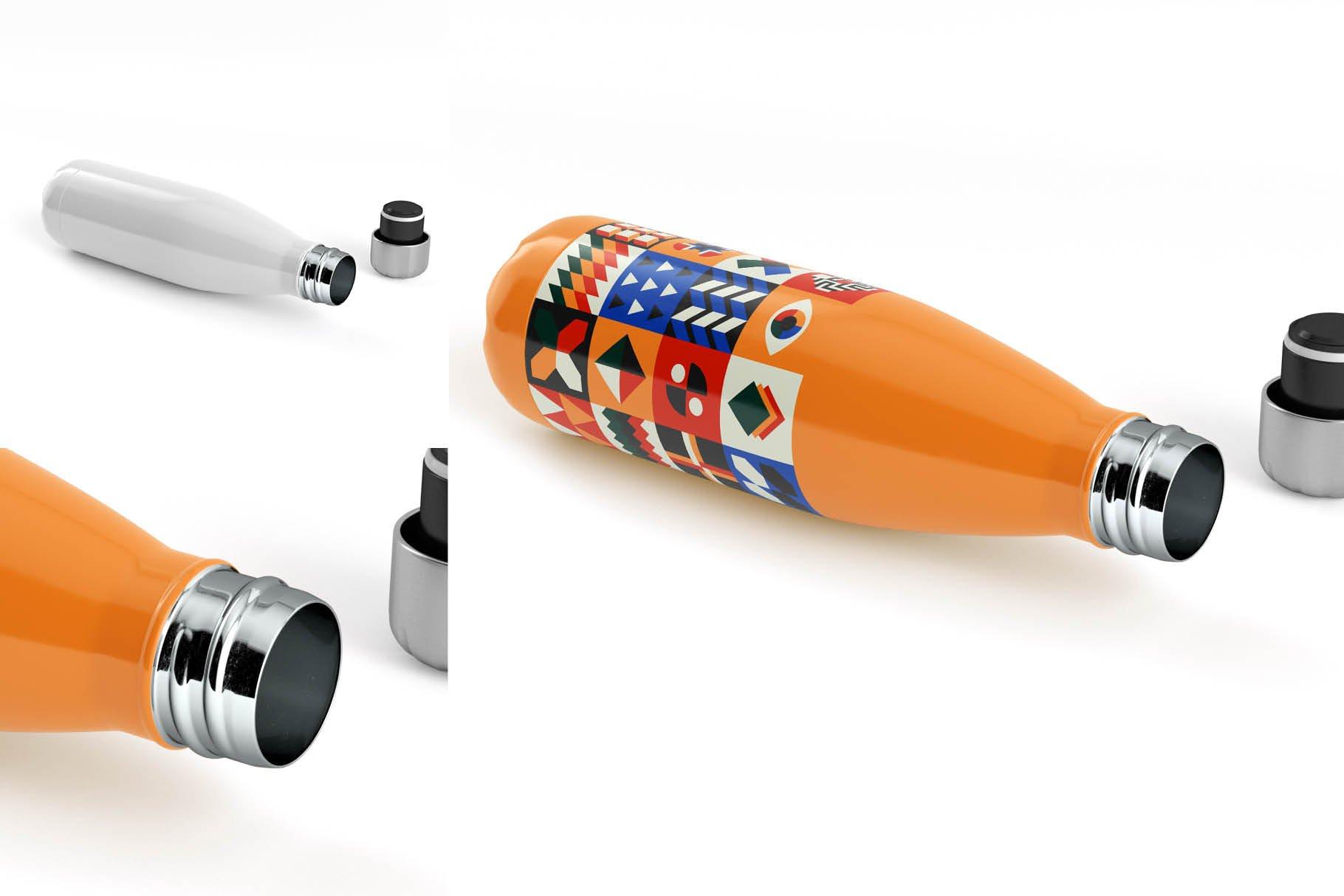时尚不锈钢保温水瓶外观设计PS贴图样机 Stainless Steel Bottle Mock-up插图7