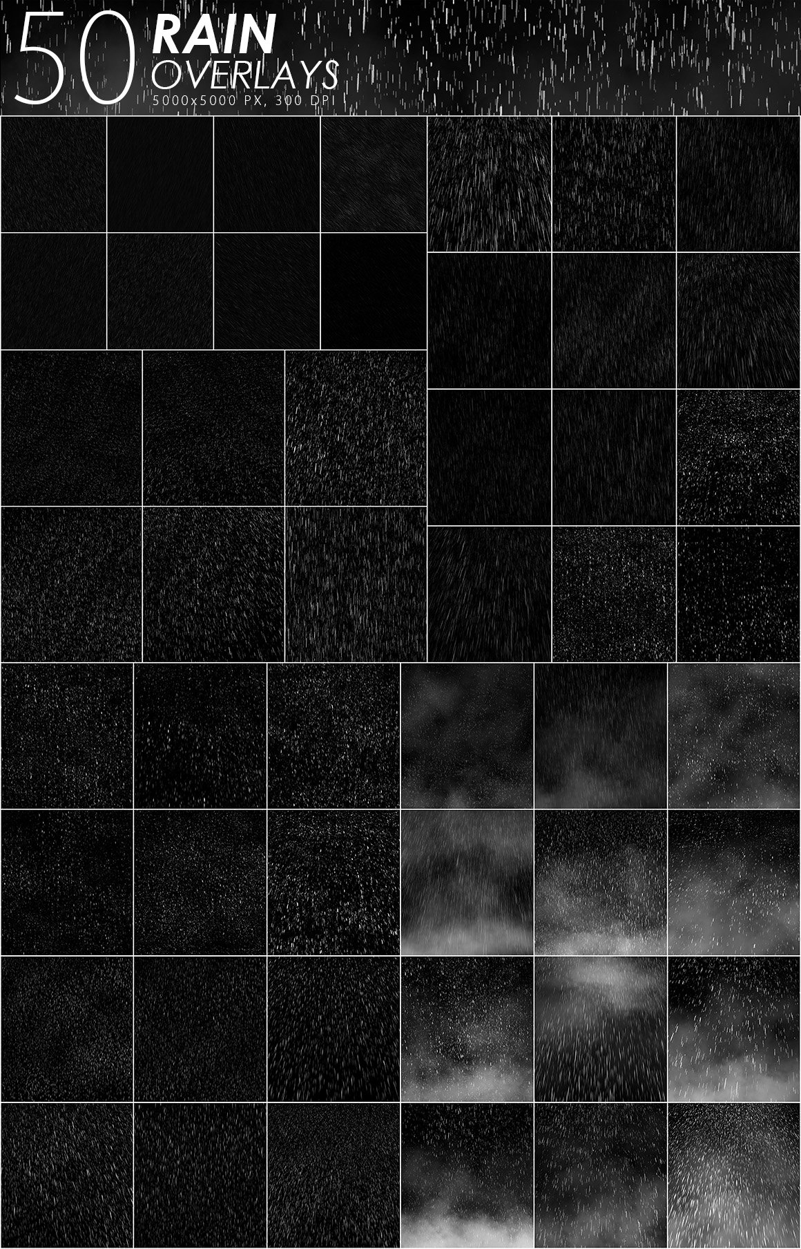 525款雷电暴雨水滴闪电暴风雪恶劣天气摄影视觉叠加背景底纹素材 525 Rain, Snow, Lightning Overlays插图1