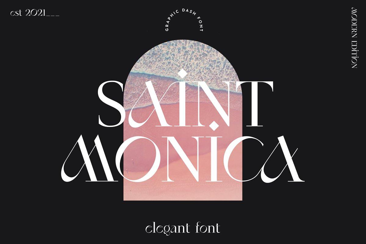 现代优雅奢华杂志标题海报徽标Logo衬线酸性英文字体素材 SaintMonica – Elegant Ligatures Font插图