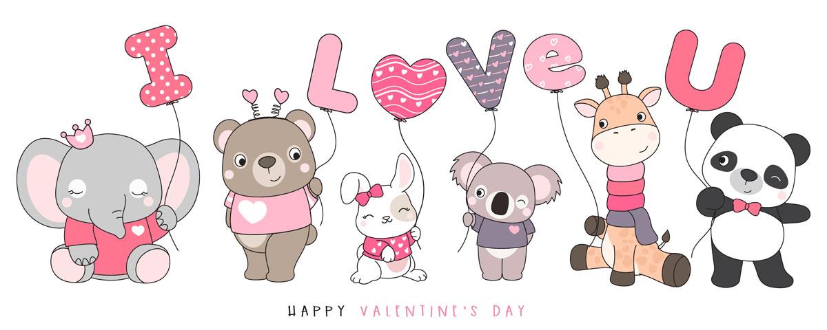 情人节主题卡通动物心形矢量设计素材 Cute Funny Doodle Animals For Valentine's Day Illustration插图5
