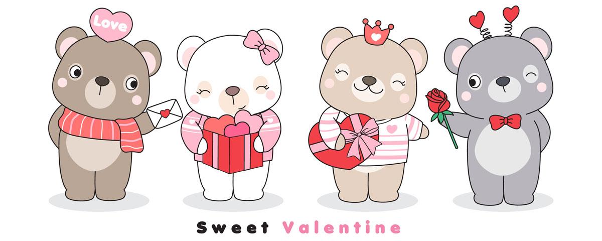 情人节主题卡通动物心形矢量设计素材 Cute Funny Doodle Animals For Valentine's Day Illustration插图8