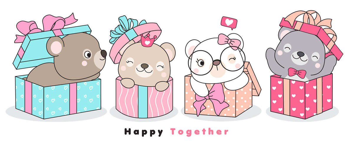 情人节主题卡通动物心形矢量设计素材 Cute Funny Doodle Animals For Valentine's Day Illustration插图9