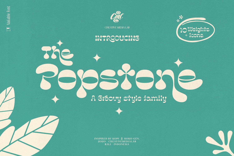复古卡通幽默趣味品牌海报画册标题英文字体设计素材 Popstone – Groovy Variable Font插图