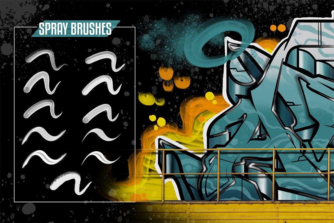 [单独购买] 潮流街头嘻哈涂鸦喷涂效果PS笔刷设计素材套件 Ultimate Photoshop Graffiti Kit插图1