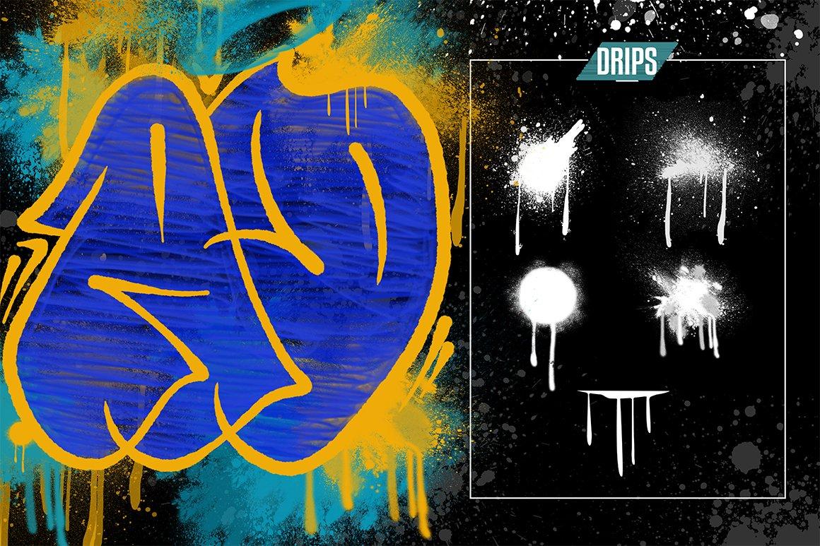 [单独购买] 潮流街头嘻哈涂鸦喷涂效果PS笔刷设计素材套件 Ultimate Photoshop Graffiti Kit插图4