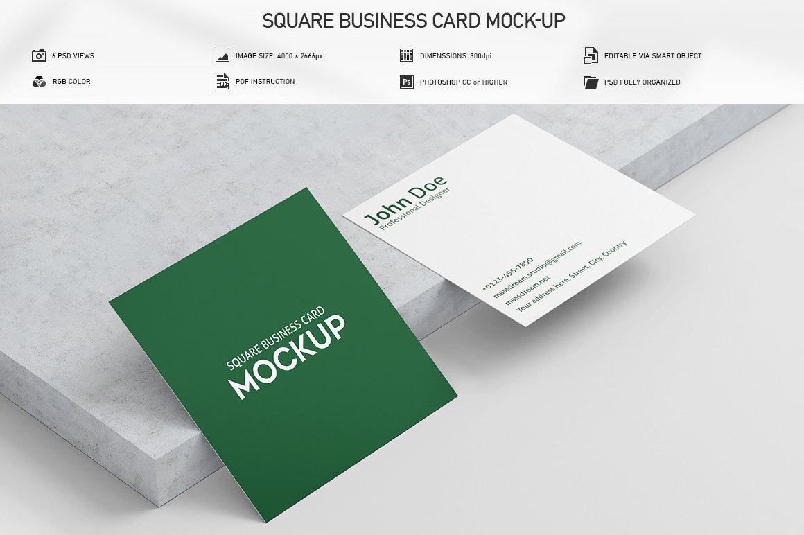6款方形名片卡片设计展示PSD样机模板 Square Business Card Mock-Up插图