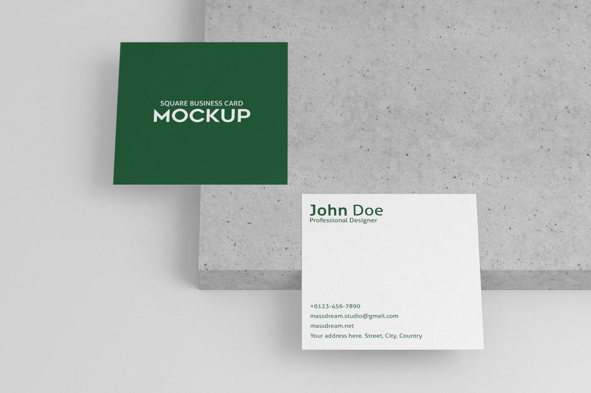 6款方形名片卡片设计展示PSD样机模板 Square Business Card Mock-Up插图1