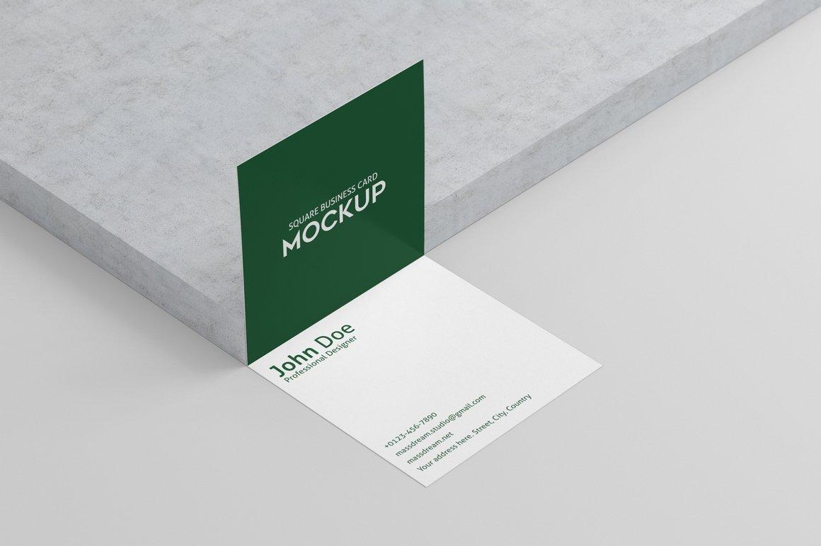 6款方形名片卡片设计展示PSD样机模板 Square Business Card Mock-Up插图2
