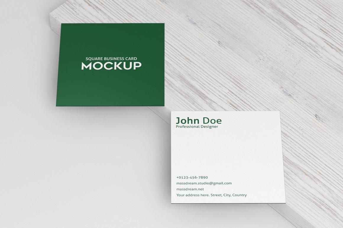 6款方形名片卡片设计展示PSD样机模板 Square Business Card Mock-Up插图3