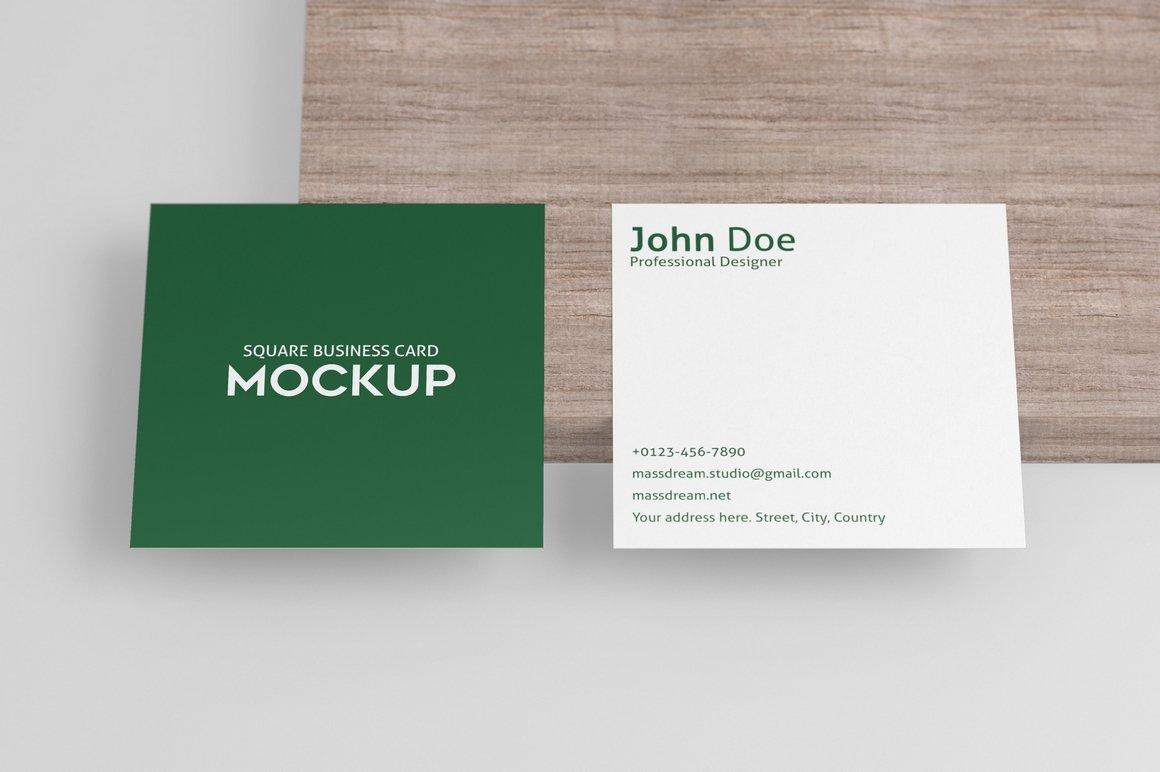 6款方形名片卡片设计展示PSD样机模板 Square Business Card Mock-Up插图5
