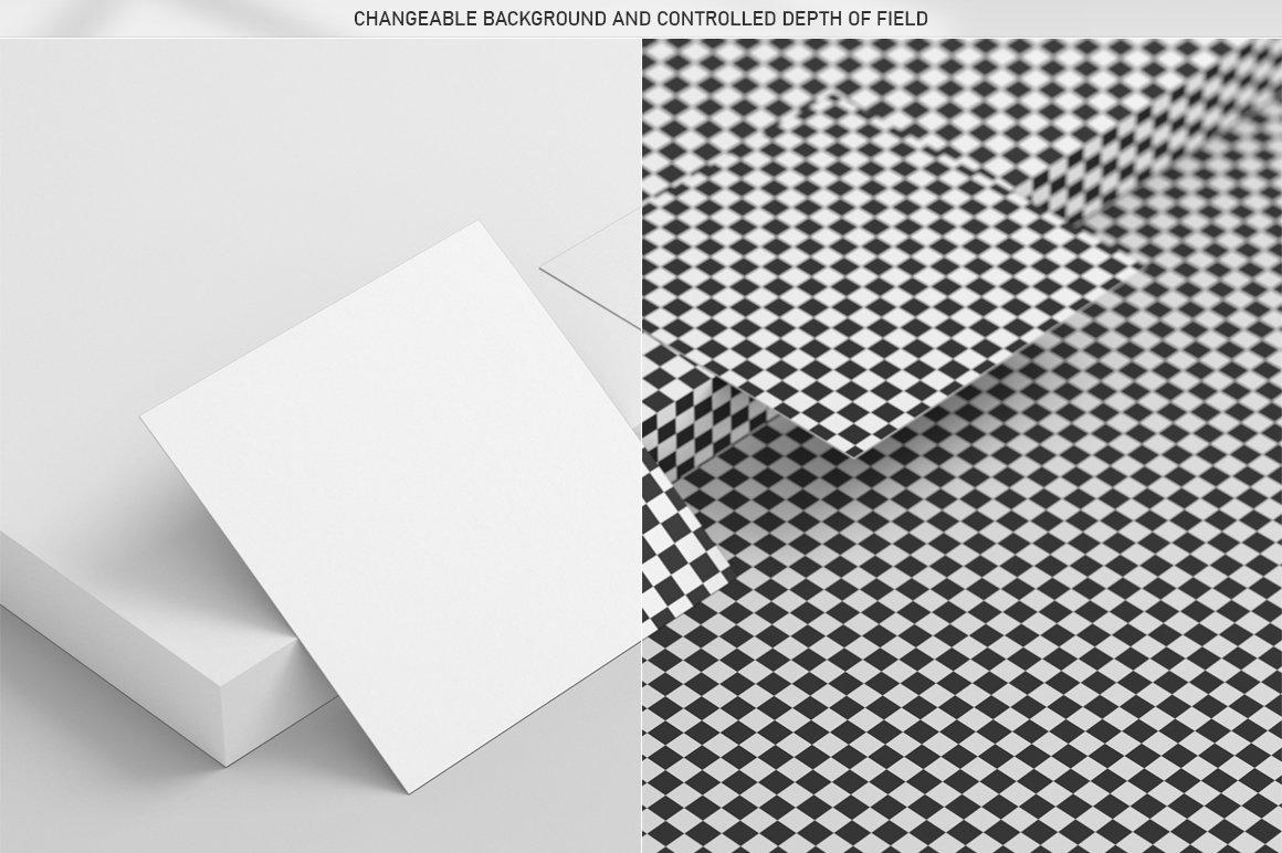 6款方形名片卡片设计展示PSD样机模板 Square Business Card Mock-Up插图6