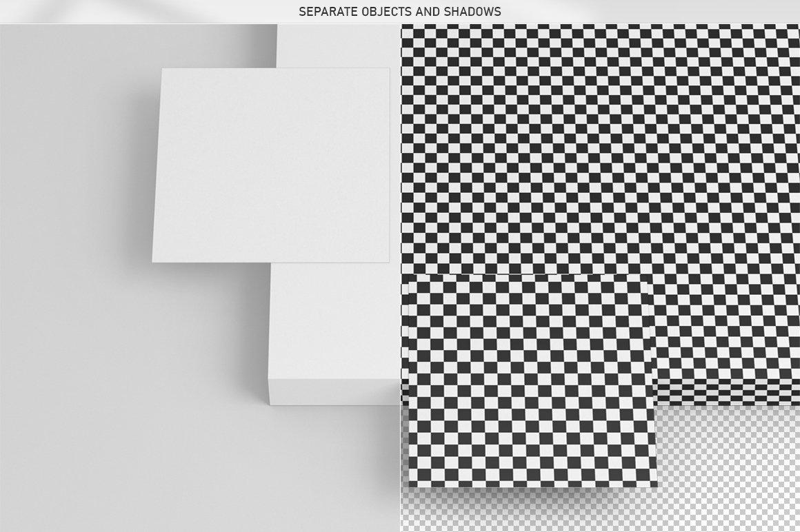 6款方形名片卡片设计展示PSD样机模板 Square Business Card Mock-Up插图7