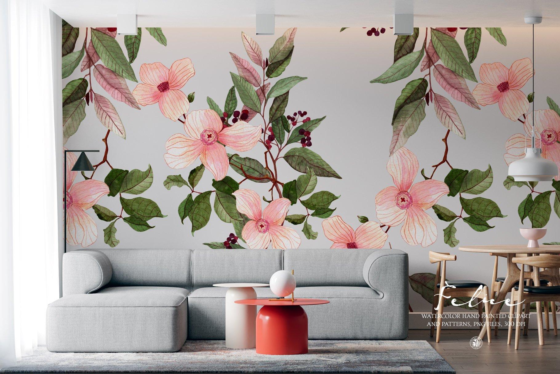 16款高清花卉花圈手绘水彩画无缝隙图案PNG透明图片素材 Felice – Watercolor Floral Set插图2