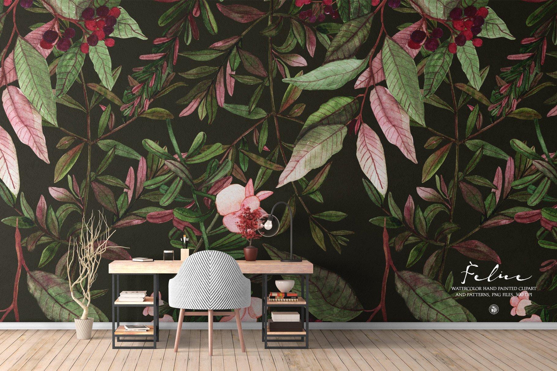 16款高清花卉花圈手绘水彩画无缝隙图案PNG透明图片素材 Felice – Watercolor Floral Set插图5