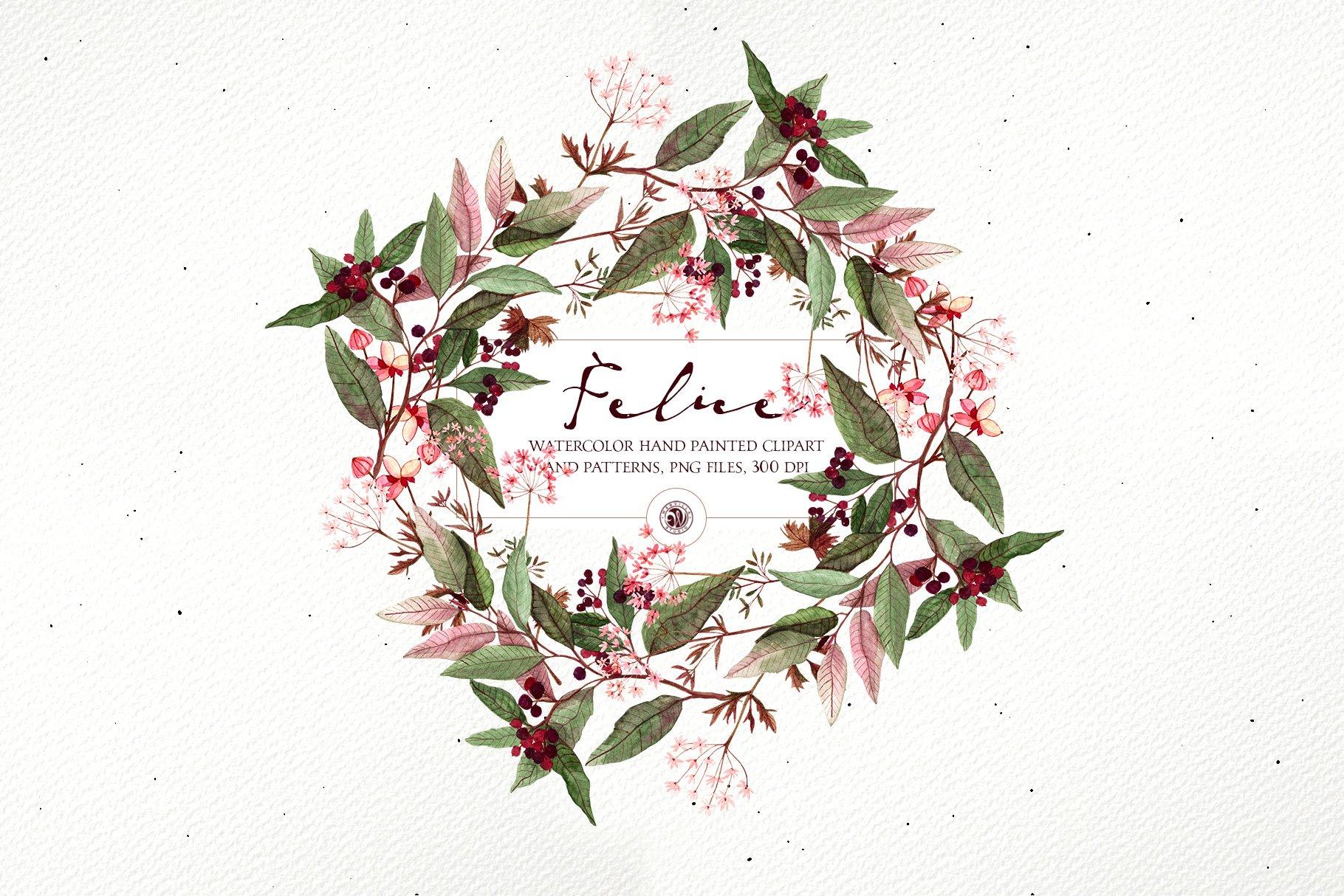 16款高清花卉花圈手绘水彩画无缝隙图案PNG透明图片素材 Felice – Watercolor Floral Set插图6
