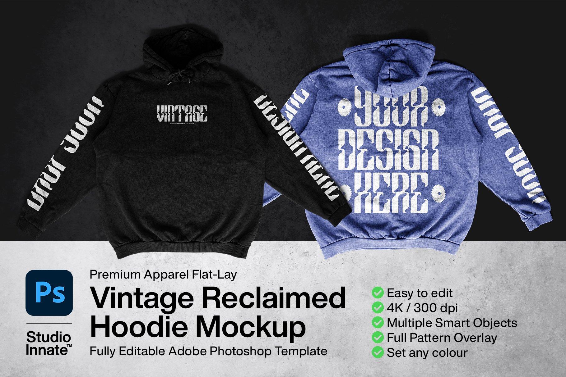 复古棉料连衣帽卫衣印花图案设计PS贴图样机模板 Vintage Reclaimed Hoodie Mockup插图1