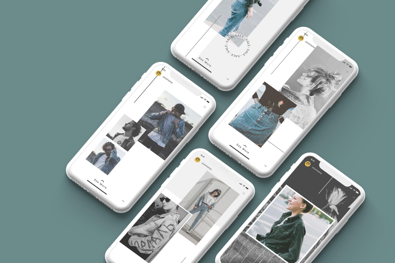 时尚白色陶瓷苹果手机APP界面设计演示样机 White Iphone Mockup + InstaStory UI插图1