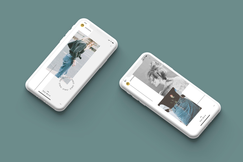 时尚白色陶瓷苹果手机APP界面设计演示样机 White Iphone Mockup + InstaStory UI插图2