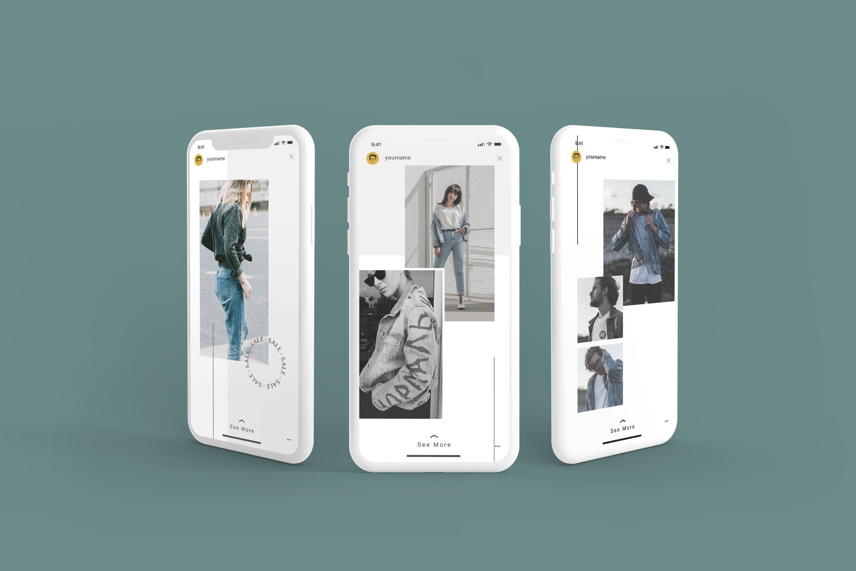时尚白色陶瓷苹果手机APP界面设计演示样机 White Iphone Mockup + InstaStory UI插图4