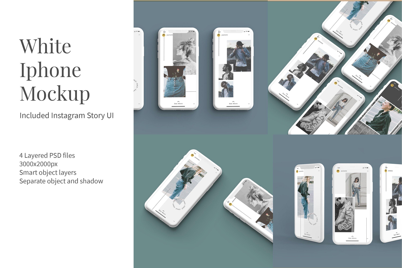 时尚白色陶瓷苹果手机APP界面设计演示样机 White Iphone Mockup + InstaStory UI插图