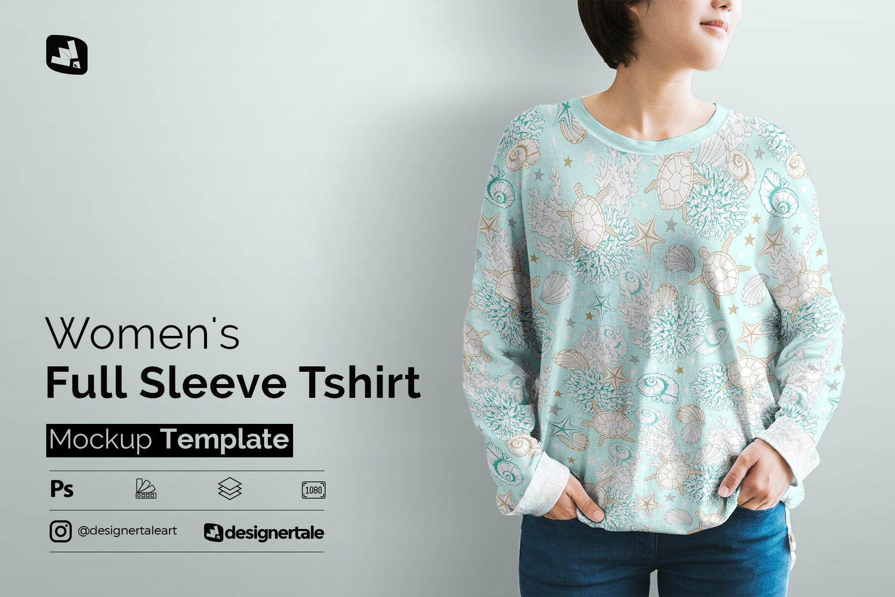 女士半袖T恤印花图案设计展示贴图样机模板素材 Womens Full Sleeve Tshirt Mockup插图