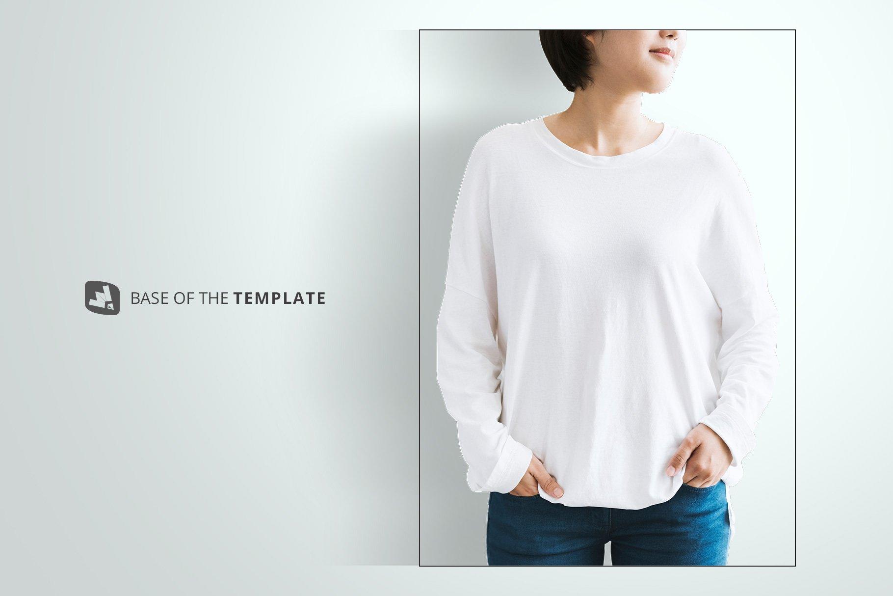 女士半袖T恤印花图案设计展示贴图样机模板素材 Womens Full Sleeve Tshirt Mockup插图9