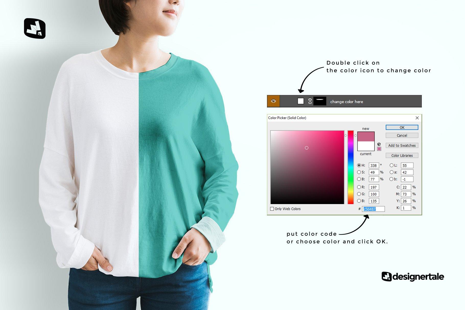 女士半袖T恤印花图案设计展示贴图样机模板素材 Womens Full Sleeve Tshirt Mockup插图2