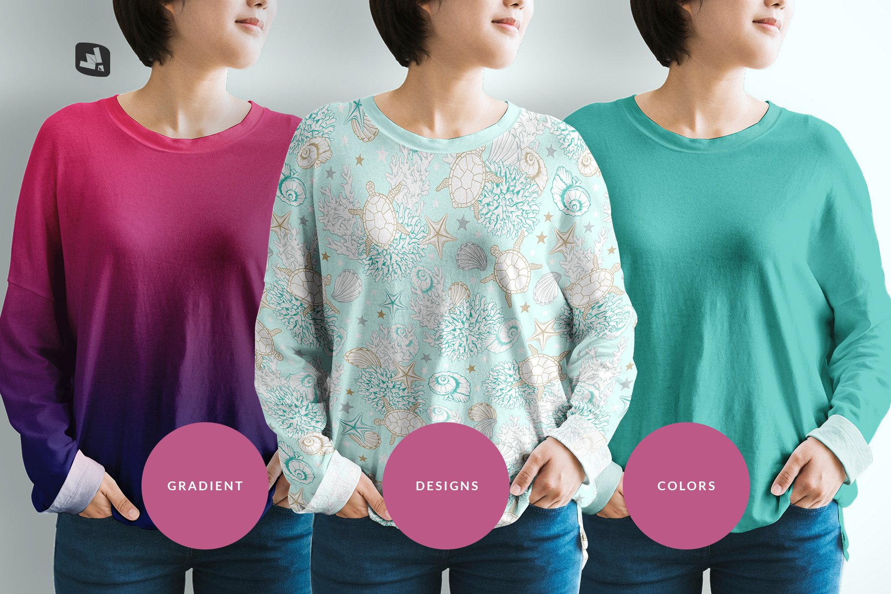 女士半袖T恤印花图案设计展示贴图样机模板素材 Womens Full Sleeve Tshirt Mockup插图1