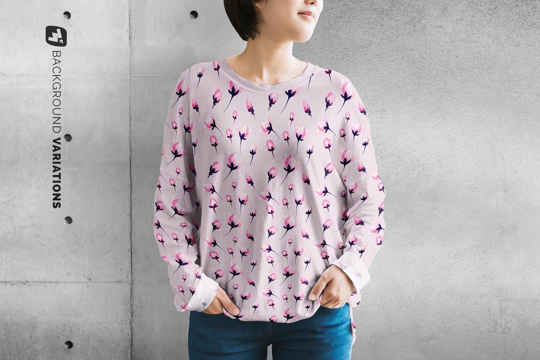 女士半袖T恤印花图案设计展示贴图样机模板素材 Womens Full Sleeve Tshirt Mockup插图4