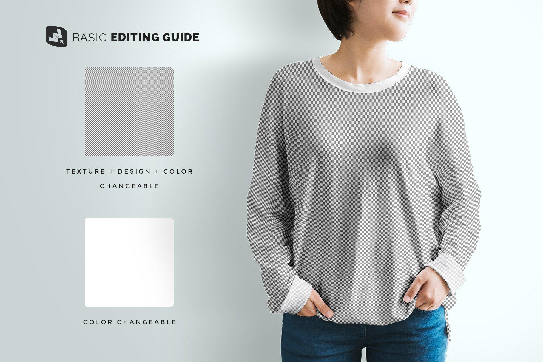 女士半袖T恤印花图案设计展示贴图样机模板素材 Womens Full Sleeve Tshirt Mockup插图7