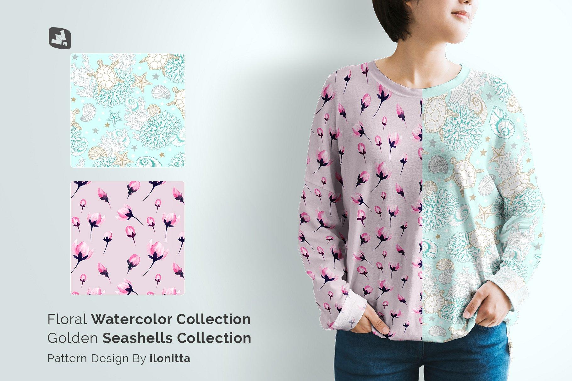 女士半袖T恤印花图案设计展示贴图样机模板素材 Womens Full Sleeve Tshirt Mockup插图8
