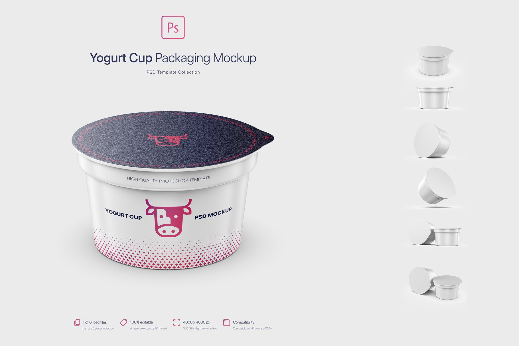 6款逼真高质量酸奶杯设计展示样机 Yogurt Cup Packaging Mockup插图